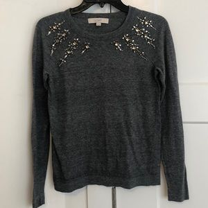 LOFT Embellished Grey Sweater